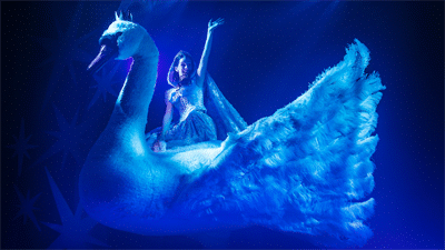 Actor riding a giant swan