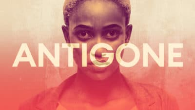Antigone - Photo of a girl looking directly to camera with the Antigone title text in front