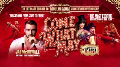 Come What May - Title text and images of the cast on a red Moulin Rouge style background